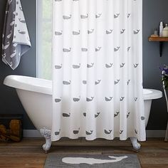 Whale Shower Curtain - Feather Gray #westelm *** a bit of whimsy for the boys' bathroom
