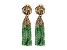 Oscar de la Renta Short Silk Tassel Earring