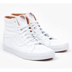 Vans Xtuff SK8 Hi Reissue ($69) ❤ liked on Polyvore featuring shoes, sneakers, vans, vintage high top sneakers, vans sneakers, white sneakers, white shoes and vans shoes