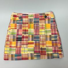 """J. Crew Patchwork Mini Skirt 0 Cute little skirt with side zip and ornamental button closure. Length 15"""", waist lying flat 28"""". No flaws. 100% cotton. J. Crew Skirts Mini"""