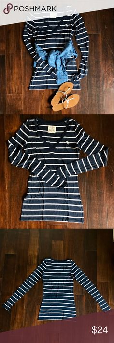 Abercrombie & fitch long sleeve stripped shirt It's a V neck long sleeve shirt. The shirt's style is longer than your usual t-shirt, but the material is very soft and is a staple shirt that can easily be styled with anything Abercrombie & Fitch Tops Tees - Long Sleeve