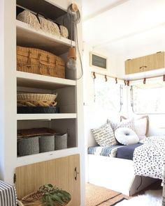 I do love these shelves that I built into the existing wardrobe space in Mrs Schmick, as not only do they open up the internal space and create useful storage, they are the perfect place to showcase my vintage finds!