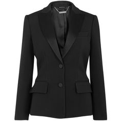 Alexander McQueen Black wool blend tuxedo jacket (£1,875) ❤ liked on Polyvore featuring outerwear, jackets, blazers, button jacket, peplum jacket, peplum blazer, flare jacket and dinner jacket
