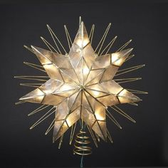 14 Lighted Capiz Sunburst 7Point Star Christmas Tree Topper  Clear Lights ** Be sure to check out this awesome product.