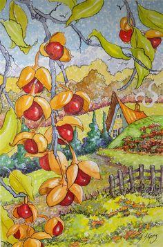 """""""American Bittersweet Storybook Cottage Series"""" original fine art by Alida Akers"""