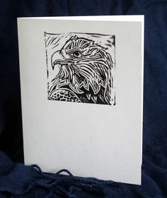 Eagle Note Card  from original Lino Cut print 100 by RedBoatStudio