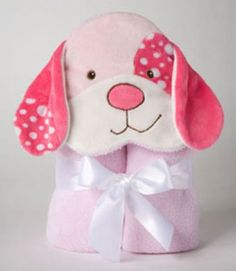 28 in. square. Plush, absorbent,fluffy, fun towels in pure hues. Embroidered and appliqued animal heads and coordinated edging. Machine washable and safety tested.Personalize your Pink Dog Hooded Towel with your babys name embroidered in raspberry thread for 5.00.