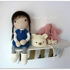 Crocheted doll with animal hat, coat & wee small teddy bear