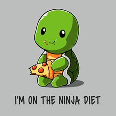 Diet - T-Shirt / Mens / S You can eat whatever you want on the Ninja Diet! Get the Ninja Diet t-shirt only at TeeTurtle!You can eat whatever you want on the Ninja Diet! Get the Ninja Diet t-shirt only at TeeTurtle! Cute Animal Drawings, Kawaii Drawings, Cute Drawings, Pencil Drawings, Cute Puns, Funny Cute, Funny Pics, Hilarious, Funny Animals