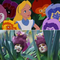Pin for Later: Does the World Cup Opening Ceremony Remind You of a Disney Cartoon?  The dancers dressed as flowers look an awful lot like the Alice in Wonderland flowers. Source: Disney, Getty / DIMITAR DILKOFF