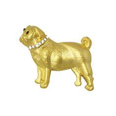 Paco the Pug Gold Enamel and Swarovski Crystal Dog Brooch