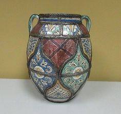 Antique Moroccan filigree Fez metalwork enameled art pottery vase pot Safi