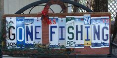 Gone Fishing License Plate Barnwood Sign Lakehouse Sign Fathers Day. $45.00, via Etsy.