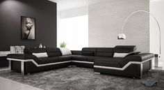 3 Modern Contemporary Sectional Leather Sofa Black & WHite - anoninterior