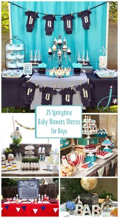 25 Springtime Baby Shower Themes for Boys. I love the boys rock and welcome aboard. Really a great list of creative boy baby shower themes! Shower Bebe, Baby Shower Fun, Baby Shower Gender Reveal, Shower Party, Baby Shower Parties, Shower Gifts, Shower Favors, Baby Showers, Baby Shower Garcon