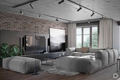 Three houses with exposed brick, wood paneling and gray to their vo . - Three houses with exposed brick, wood paneling and gray to your advantage - Futuristisches Design, Loft Design, Modern House Design, Living Room Grey, Living Room Decor, Loft Interior Design, Room Interior, Interior Architecture, Brick And Wood