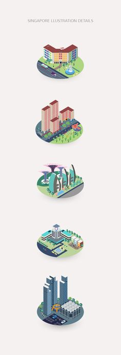 Isometric Vector Illustration of Singapore City Landmark by Lemoneno