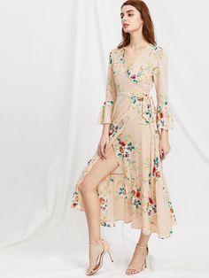 Plunge Neck Floral Print Bell Sleeve Slit Side Dress 8422ffbcc78d