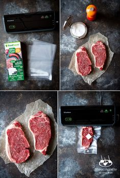 Cooking steak is hard. Cooking Sous Vide Steak with Chimichurri Sauce and Grilled Scallions couldn't be easier! Sous-vide cooking provides consistently great results EVERY SINGLE TIME! Steak With Chimichurri Sauce, Sous Vide Cooking, Strip Steak, How To Cook Steak, Grill Pan, Grilling, Lime, Eat, Recipes