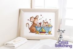 Make a splash in cross stitch! Nothing can be cuter than an adorable little mouse having a bath, so stitch this sweet scene by #HelzCuppleditch for your water baby. Find the pattern only in issue 226 of The World of Cross Stitching magazine