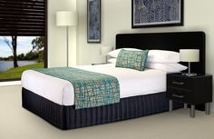"Bed Runner and Bel-Air Cushion - ""Fiddlesticks"" Electra,  Bed Valance - ""Siam"" Dark Navy"