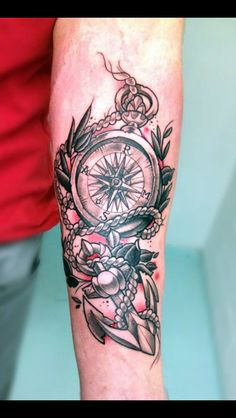Compass Anchor Tattoo
