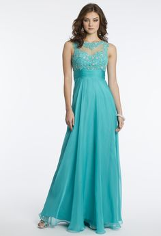 Camille La Vie Chiffon Illusion Neck Prom Dress with Empire Waist
