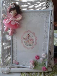 porta-fotos decorado con bailarina y flores
