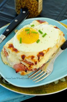 Croque Madame is a ham, cheese & mustard sandwich topped with gruyere cheese sauce baked & finished with a fried egg. Brunch Recipes, Breakfast Recipes, What's For Breakfast, Snack, So Little Time, Love Food, The Best, Food Porn, Food And Drink