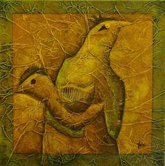 Piou-Piou, Techniques mixtes sur toile, 60 x 60 cm, disponible