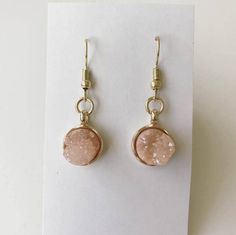 Rose Colored Rough Crystal Earrings by TheCraftyCarvalho on Etsy