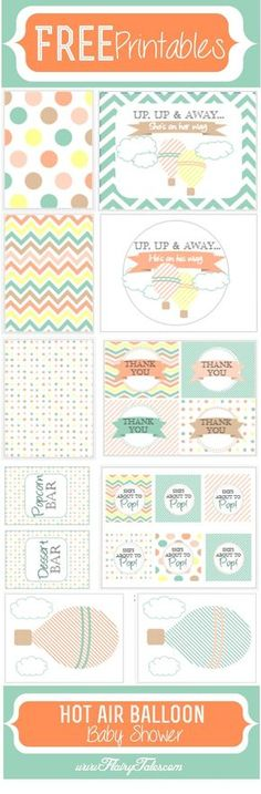 FREE printables for a hot air balloon baby shower.  Could work for a boy or girl baby shower.  www.flairytales.com #babyshowerideas