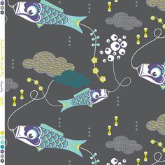 Koi No Bori (Japanese Koi Fish Kites) in the night sky BLUE by zesti on Spoonflower