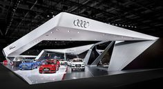 Audi booth at Paris Motor Show by KMS BLACKSPACE and SCHMIDHUBER trade fairs