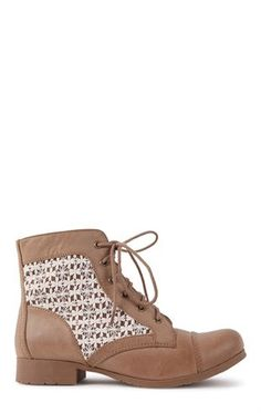 Deb Shops Short #Combat #Boot with #Crochet #Lace Trim $39.90