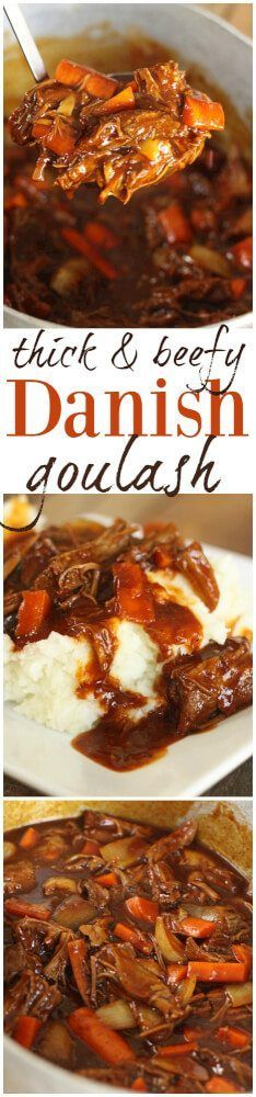 This Danish Goulash will quickly become a family favorite. Tender chunks of beef in a rich, dark gravy. The perfect comfort dinner for a hungry family!