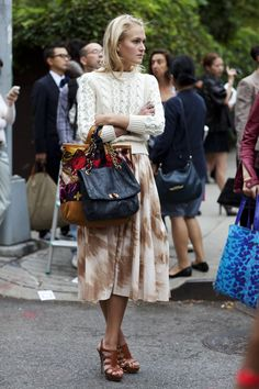 The Sartorialist | Mary Kate Steinmiller, editor of Teen Vogue | crew-cut, cable-knit sweater and A-line skirt