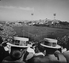 Giants fans at the old Seals Stadium on Opening Day 1958. Photo: Jon Brenneis, Time & Life Pictures/Getty Image