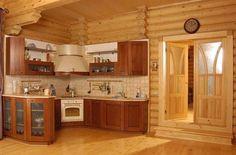 Отделка кухни деревом добавляет уют и комфорт