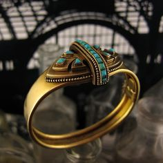 Victorian Gold & Turquoise Bangle