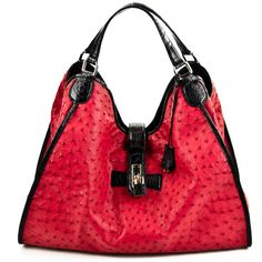 Ostrich Hobo Handbag in Red with Black Alligator Belly Handles and Strap - Belle Grotto Couture
