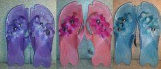 Rubber pool shoes beach floral design women girls youth sz 7 8 Flip flops Pink  #FlipFlops #beachpoolshoes #freeship