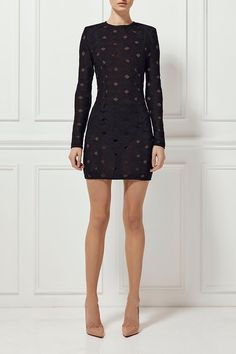2e5e894e03 The Estelle dress has been crafted from a lattice fabric and features a  fully lined body with unlined long sleeves and a high neckline.