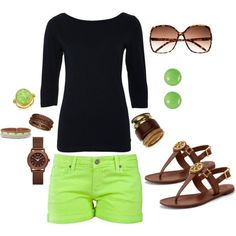 Neon green, low-rider shorts, with matching jewelry, brown accessories and long black top!