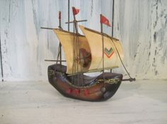 Vintage wooden model ship sailboat, Made in Holland Netherlands, Christopher Columbus Santa Maria wooden model ship, wooden model sailboat by HTArtcraftAndVintage, $24.99