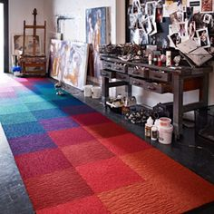 FLOR carpet tiles ~ affordable, washable squares that connect to each other, not your floor. Mix & match from a bazilion colors and patterns, made from renewable/recycled materials, AND can be sent back to them for recycling! Style At Home, Carpet Tiles, Rugs On Carpet, Red Carpet, My Living Room, Living Spaces, Interior And Exterior, Interior Design, Carpet Design