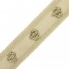 """1.25"""" ROSETTE BRAID Item: 977-29845-12 Style Number: 977-29845  Color: 12 WILLOW GREY  Category: TAPES  Fiber Content:  85% MERCERI..."""