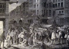 Newspaper being packed for delivery, Paris 1848