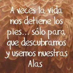 A veces la vida nos detiene los pies...sólo para que descubramos y usemos nuestras Alas...