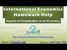 Get help with your International Economics assignment at http://classof1.com/homework-help/international-economics-homework-help/  Impacts of Globalization on an Economy: Globalization is a phenomenon, which demonstrates a significant growth in the overall international trade of goods, services and other financial assets as observed in an economy.